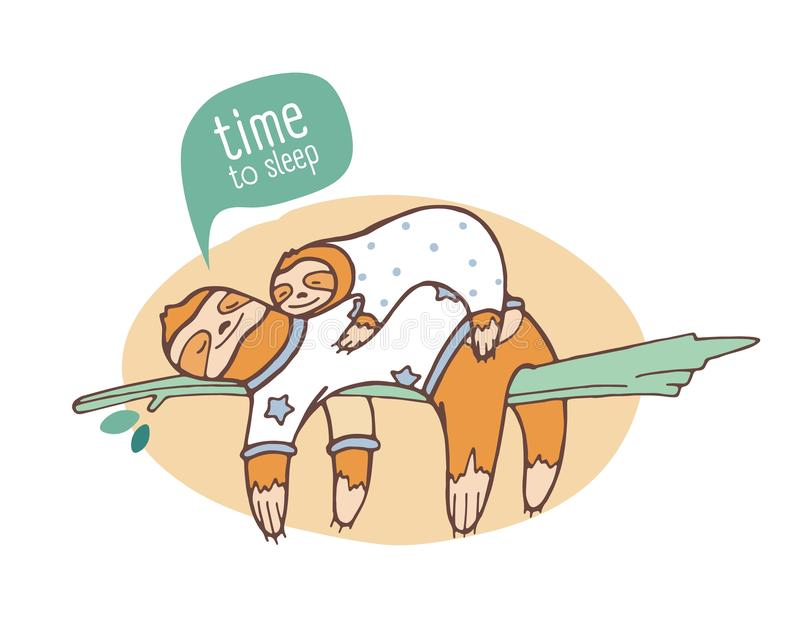 Пары леней мамы и младенца спать на ветви Семья ленивых животных slumbering или snoozing на дереве джунглей прелестное бесплатная иллюстрация