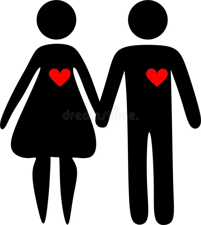 Пары любов, девушка силуэта и мальчик, сердце, тень, бесплатная иллюстрация