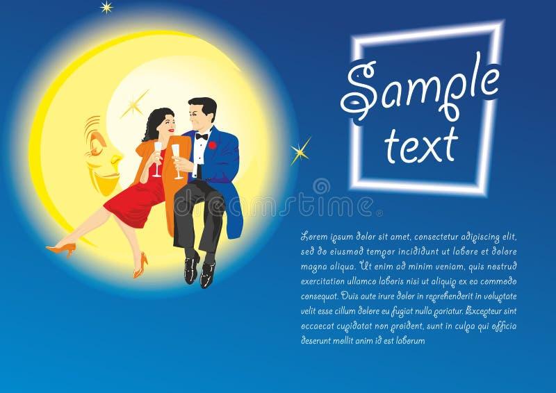Пары любов сидя на луне Предпосылка на день Валентайн, плакаты концепции, приглашения свадьбы бесплатная иллюстрация