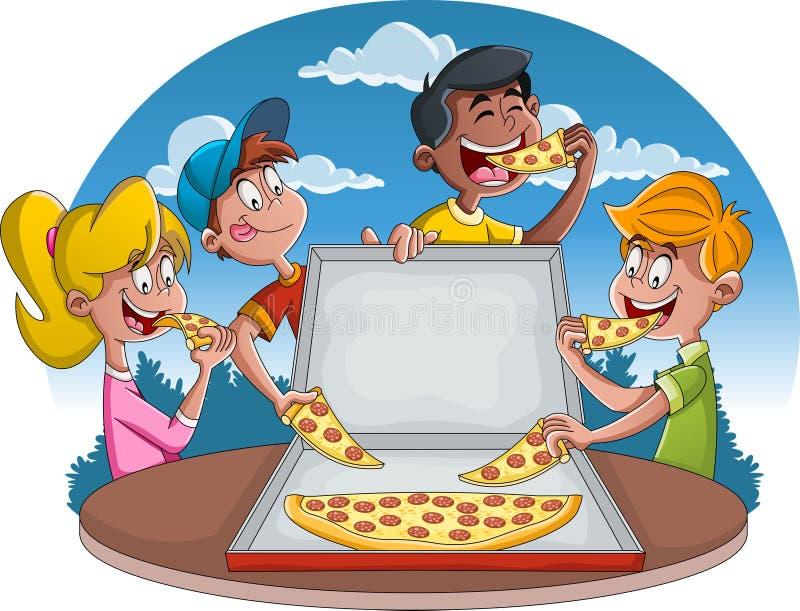 Пары людей мультфильма есть высококалорийную вредную пищу Группа в составе дети мультфильма есть пиццу pepperoni бесплатная иллюстрация