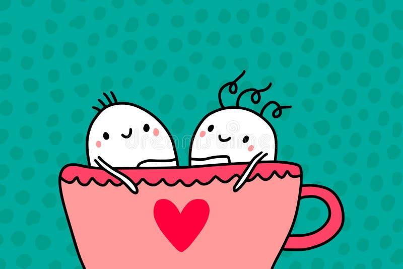 Пары людей мультфильма сидя в чашке иллюстрации вектора горячей руки кофе вычерченной иллюстрация штока