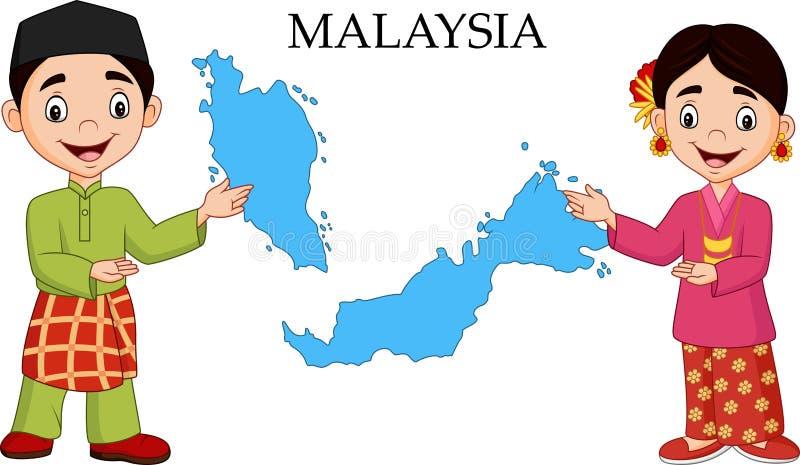 Пары Малайзии шаржа нося традиционный костюм иллюстрация вектора