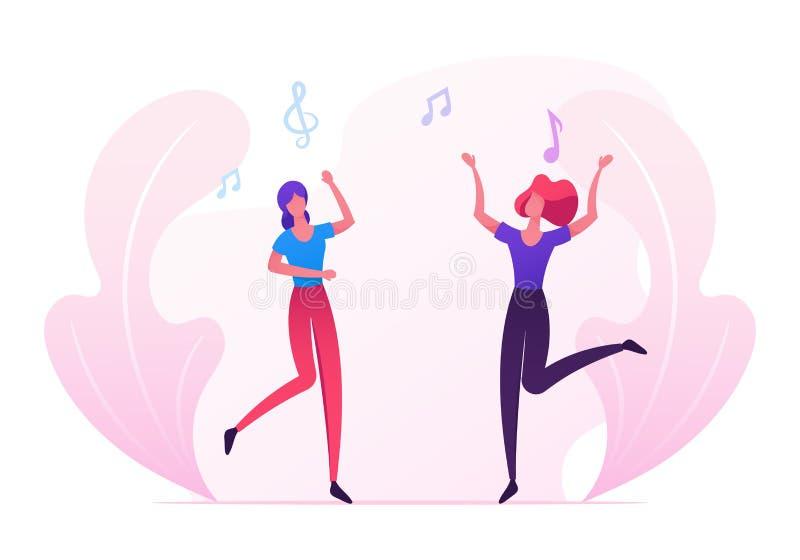 Пары маленьких девочек посещают событие музыки или концерт, вентиляторы женщин веселя, танцуя и скача с руками вверх, друзья имея иллюстрация вектора