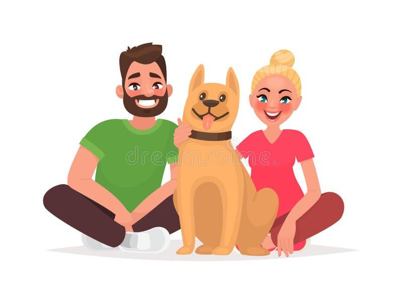 Пары молодые люди с любимчиком Супруг и жена с собакой иллюстрация штока