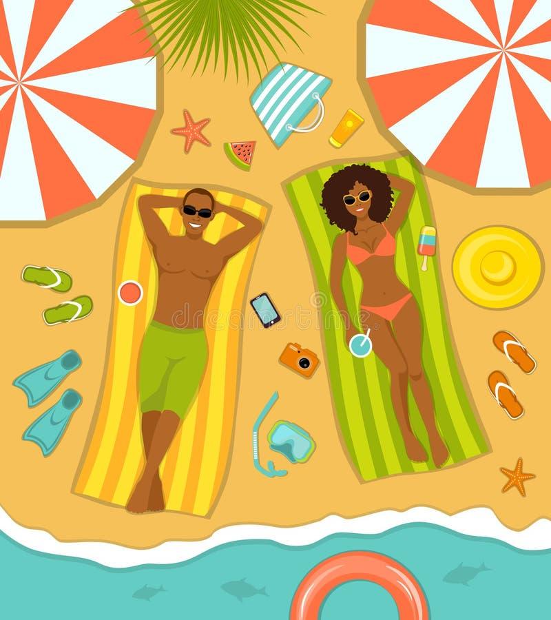 Пары на взгляд сверху пляжа иллюстрация вектора