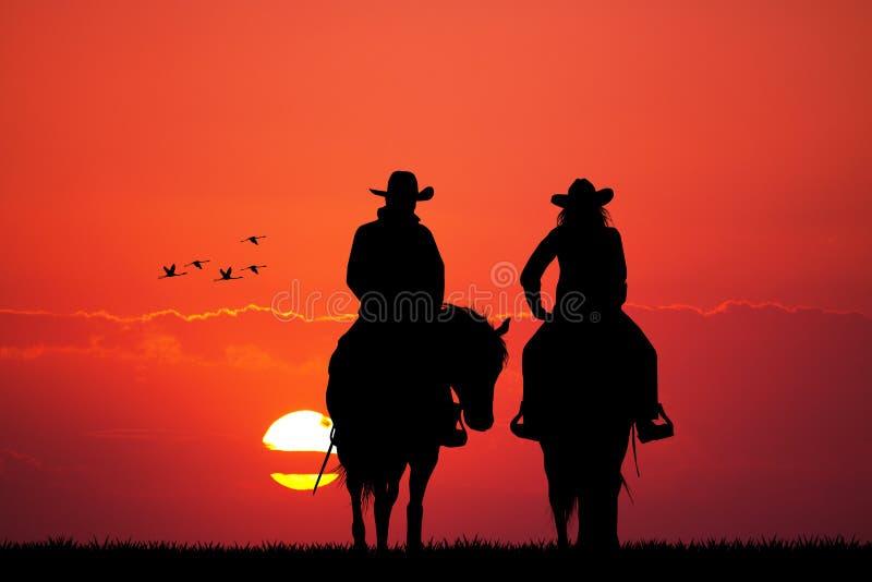 Пары на лошади иллюстрация вектора