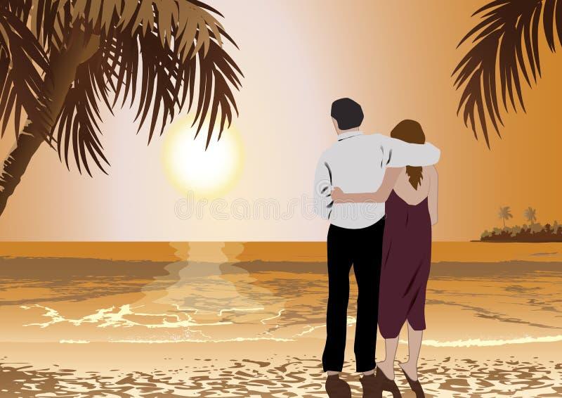 Пары на пляже иллюстрация штока