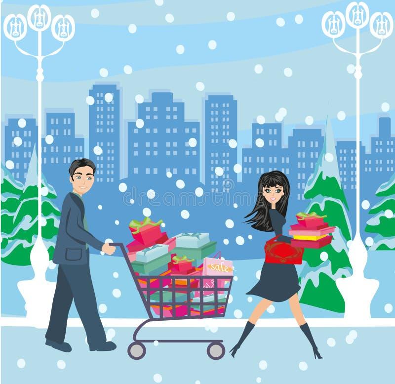 Пары на покупках рождества бесплатная иллюстрация