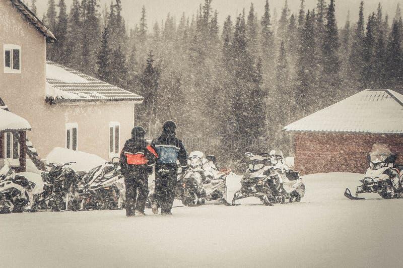 Пары на снегоходе в древесинах стоковое фото