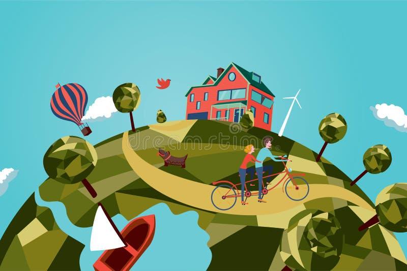 Пары на тандемном велосипеде бесплатная иллюстрация