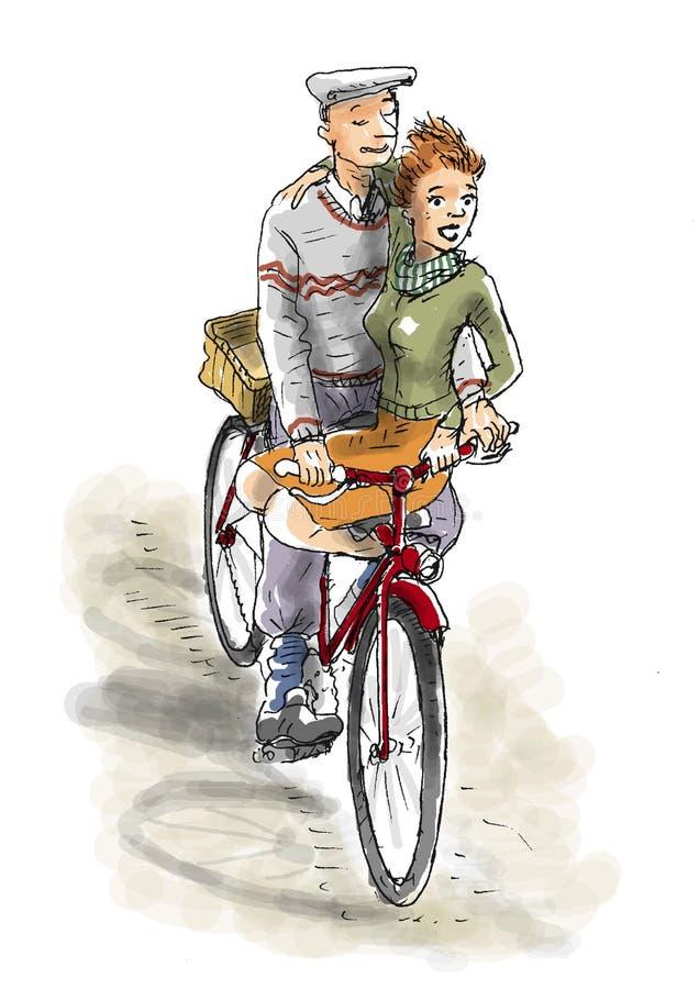Пары на Bike бесплатная иллюстрация