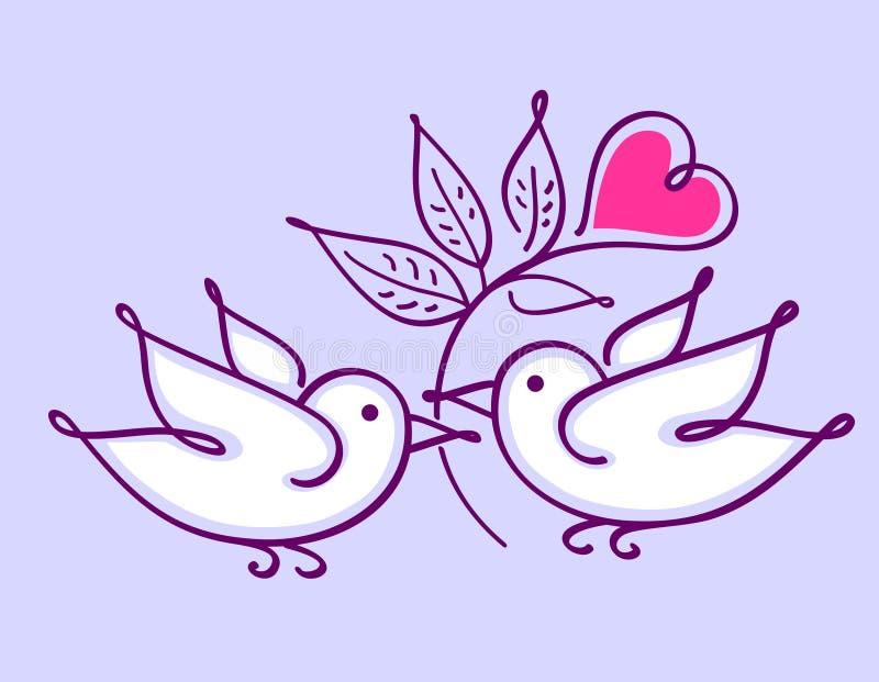 Пары неразлучников с цветком сердца иллюстрация вектора