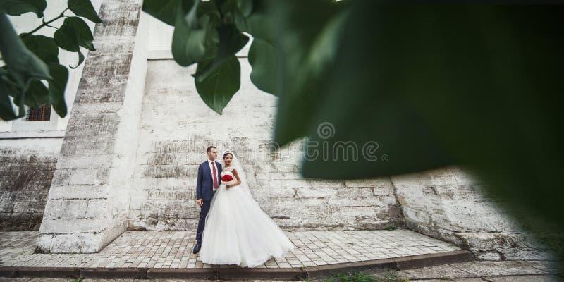 Пары новобрачных романтичные представляя совместно около старой стены замка внутри стоковое изображение