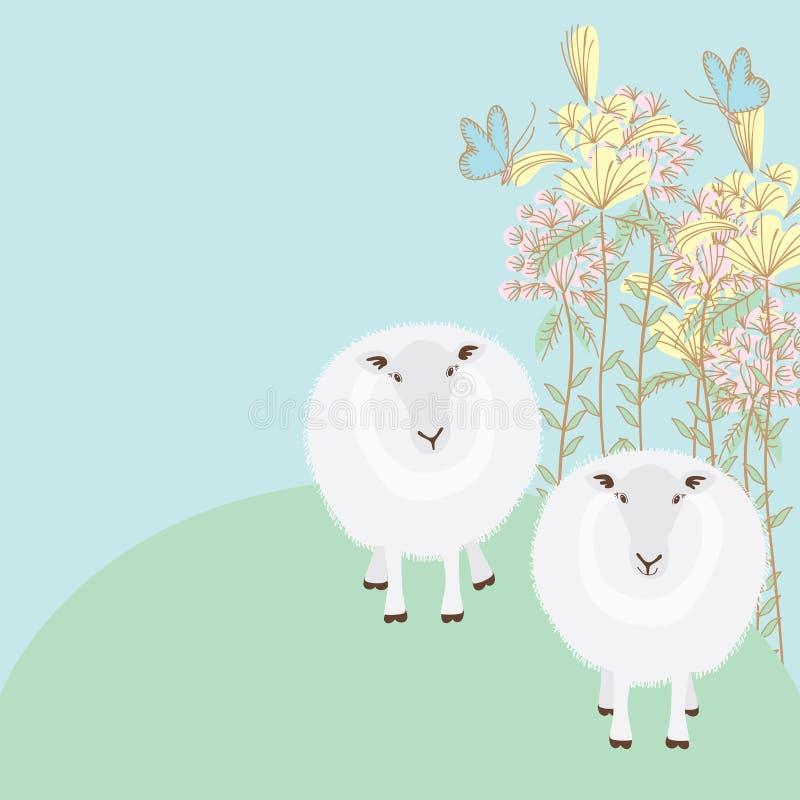 Пары овец подпирают иллюстрация вектора