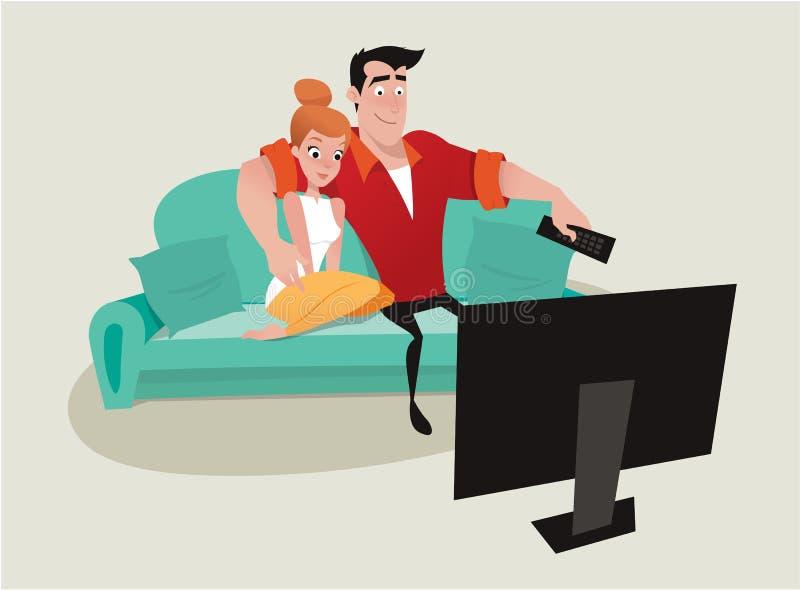 Пары ослабляя на софе смотря ТВ иллюстрация вектора