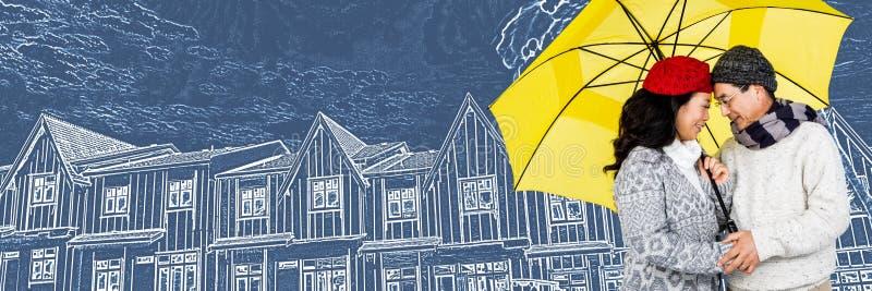 Пары под зонтиком перед эскизом чертежа дома иллюстрация штока
