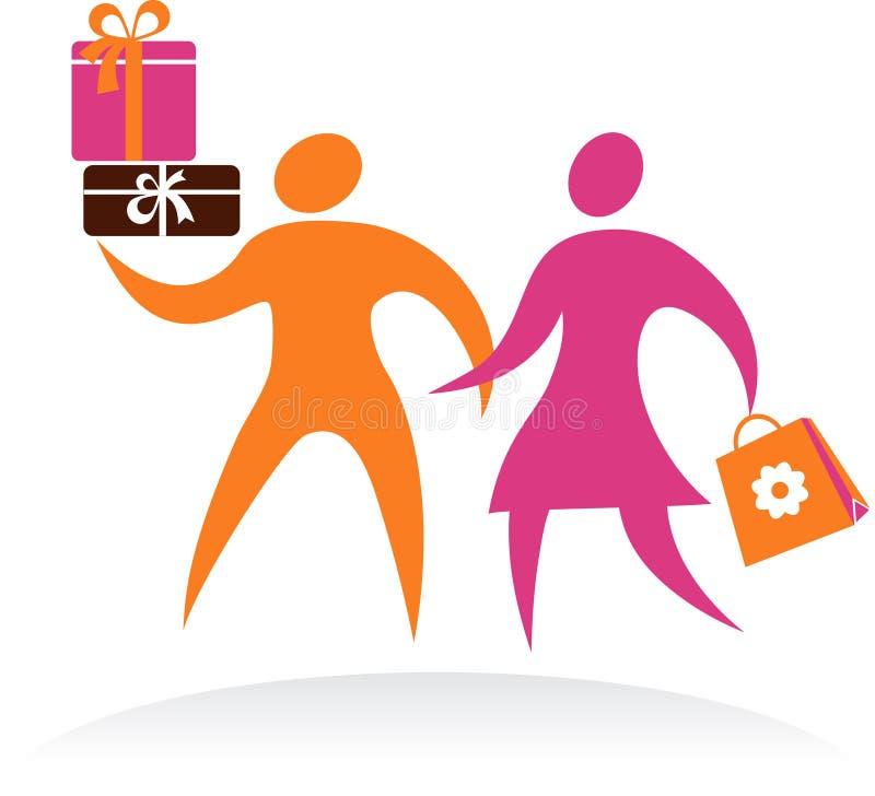 Пары покупкы, икона вектора и логос иллюстрация вектора