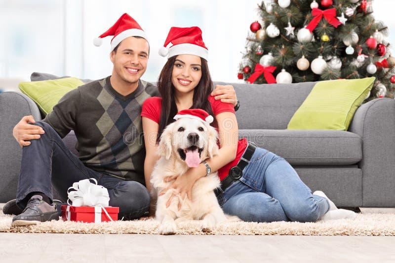 Пары празднуя рождество вместе с их собакой стоковое изображение