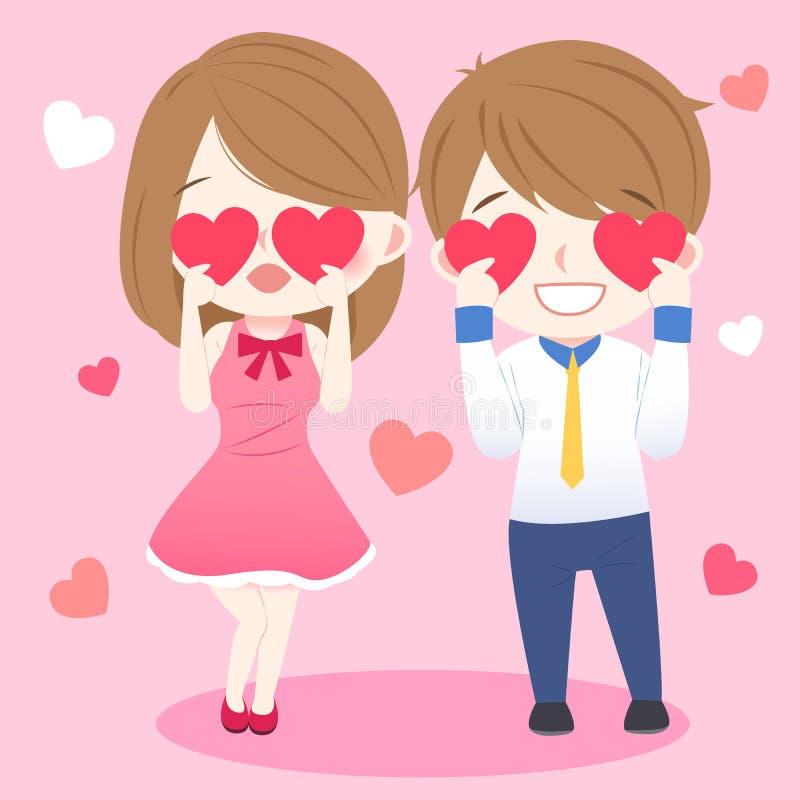 Пары принимают сердце и усмехаются иллюстрация штока