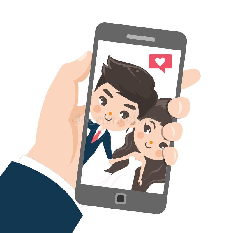 Пары принимают selfie мобильным телефоном бесплатная иллюстрация