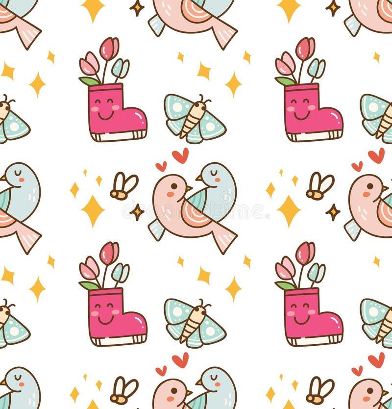 Пары птицы с предпосылкой kawaii цветка бесплатная иллюстрация