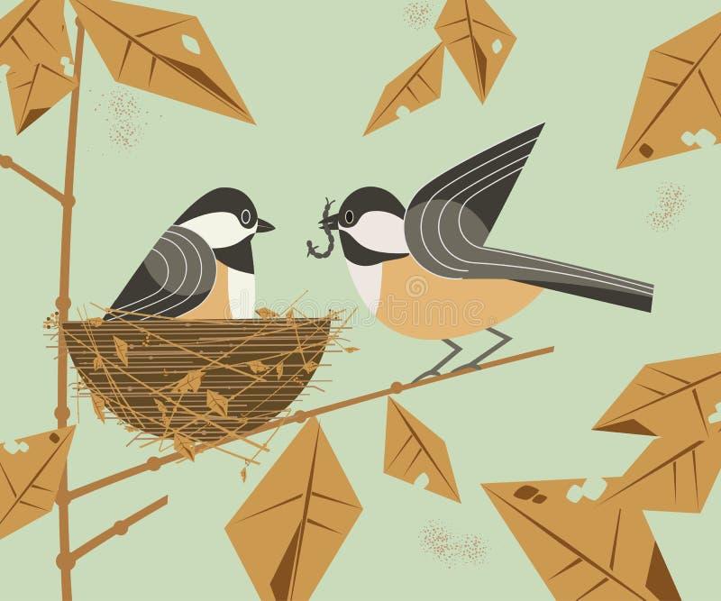 Пары птицы Chickadee иллюстрация вектора