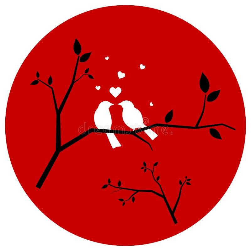 Пары птиц влюбленности иллюстрация штока