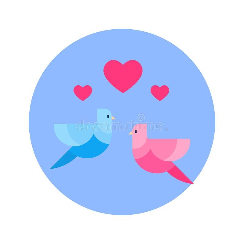 Пары птиц с значком формы сердца на голубой круглой изолированной предпосылке бесплатная иллюстрация