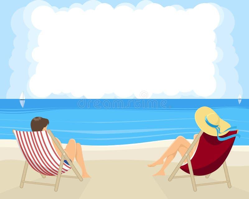 пары пляжа бесплатная иллюстрация