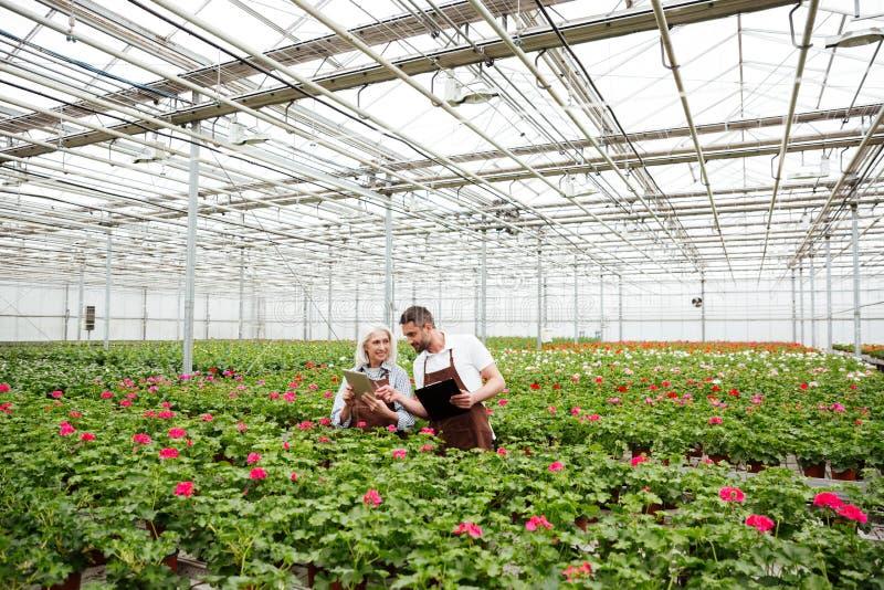 Пары работников стоя в саде около цветков и говорить стоковое изображение