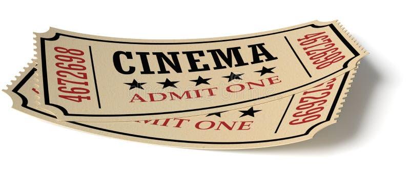 Пары ретро винтажных билетов кино с тенью бесплатная иллюстрация