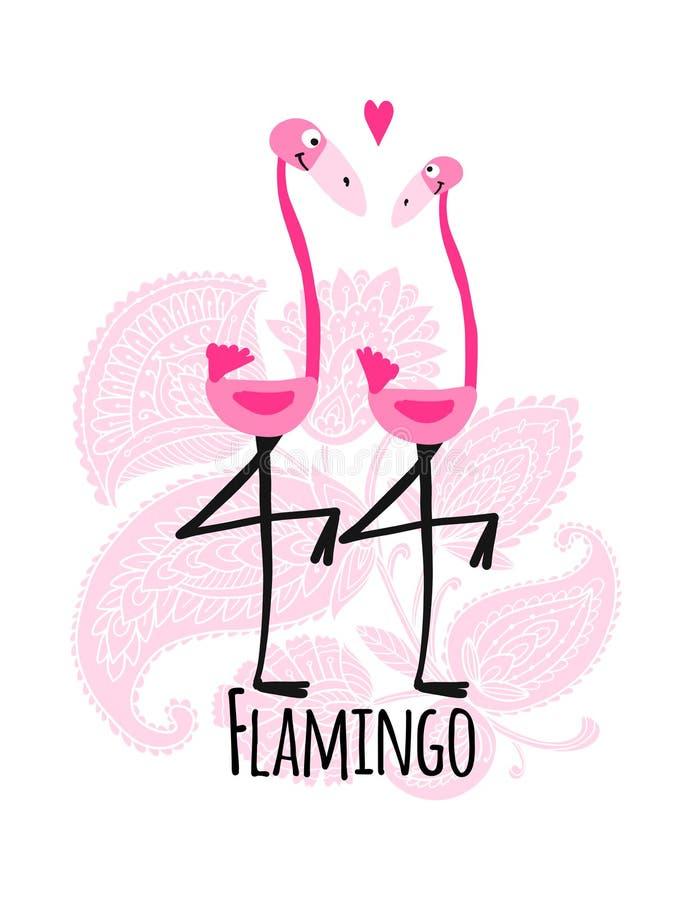 Пары розовых фламинго на флористической предпосылке, эскизе для вашего дизайна иллюстрация штока