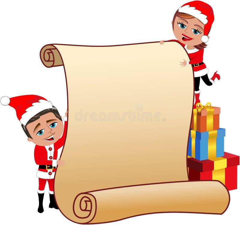 Пары Санта Клауса держа пустой пергамент иллюстрация штока