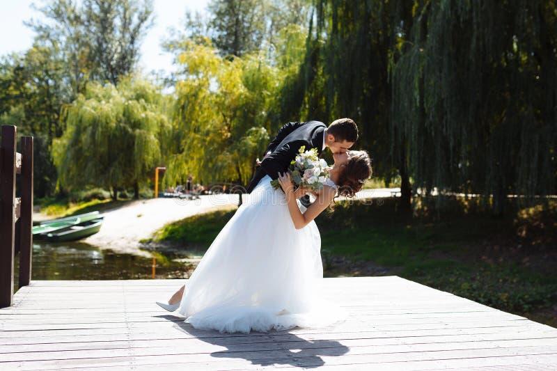 Пары свадьбы обнимая и целуя Очень красивая свадьба изумляя пар стоковое изображение