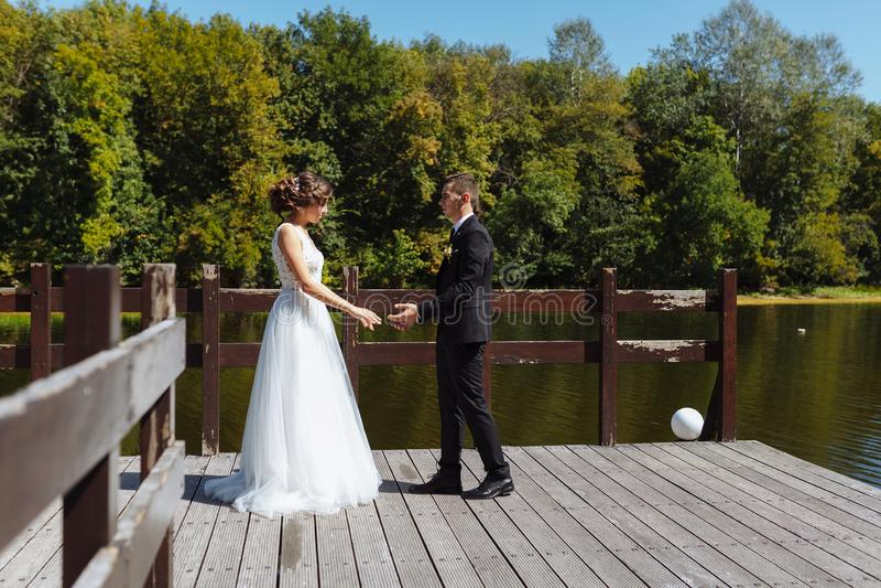 Пары свадьбы обнимая и целуя Очень красивая свадьба изумляя пар стоковые фото
