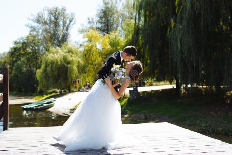 Пары свадьбы обнимая и целуя Очень красивая свадьба изумляя пар стоковые изображения