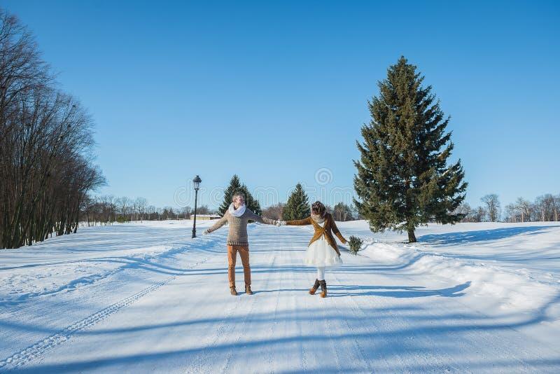 Пары свадьбы держа руки на снежной дороге, из городка, солнечный день, симпатичные 2 люд, жених и невеста, счастливый совместно,  стоковая фотография rf