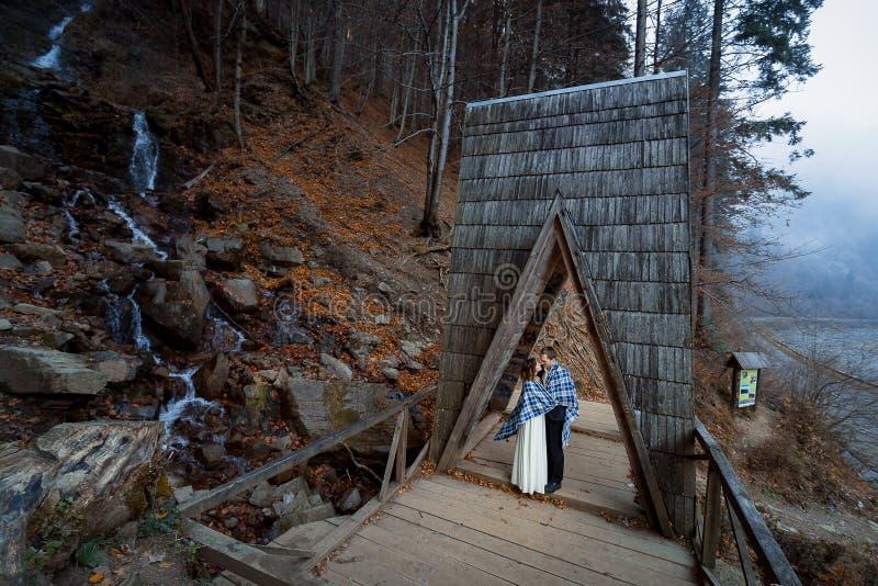 Пары свадьбы мягко целуют на деревянном мосте Туманный день в горах стоковые изображения rf