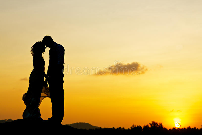 Пары свадьбы целуя с заходом солнца стоковое фото