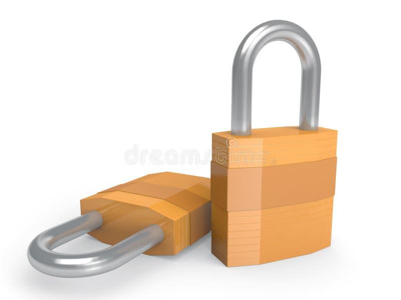 Пары сверхмощных padlocks в закрытой позиции бесплатная иллюстрация