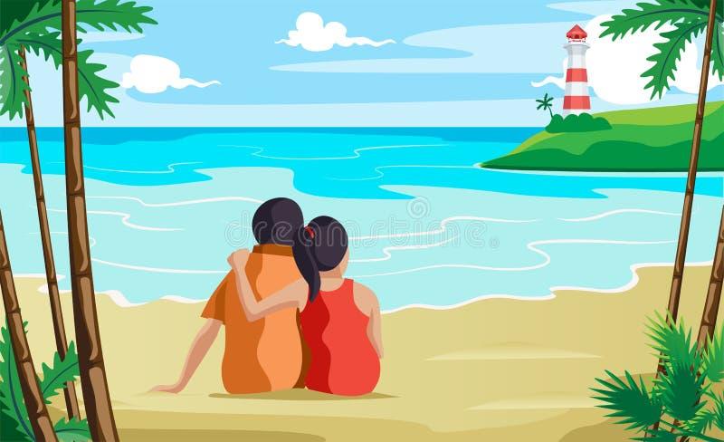 Пары сидя на seashore relaxed иллюстрация штока