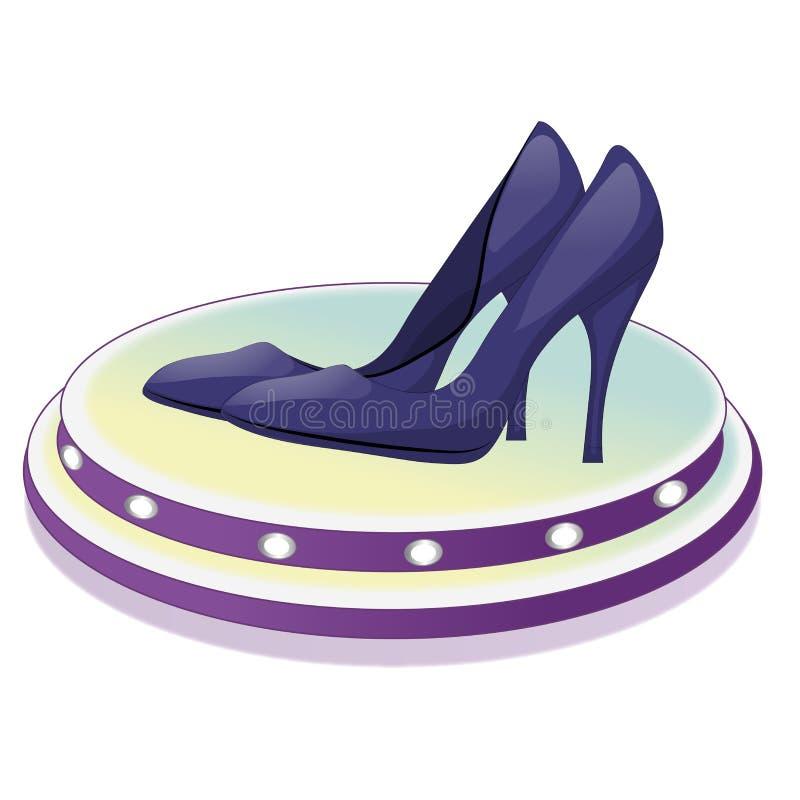 Пары синих ботинок с высокими пятками на стойке с лампами белизна изолированная предпосылкой также вектор иллюстрации притяжки co иллюстрация штока