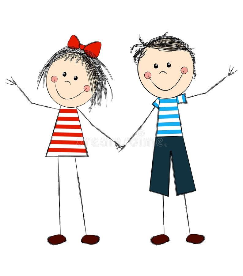 Новым годом, открытка мальчик и девочка держатся за руки