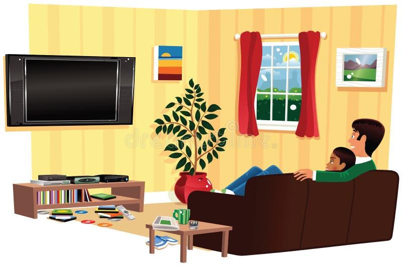 Пары смотря ТВ в гостиной бесплатная иллюстрация