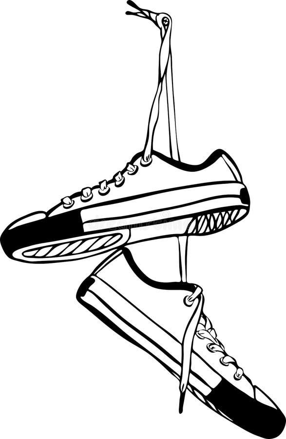 Пары спортивных тапок нарисованного вручную вида на длинных шнурках стоковая фотография rf