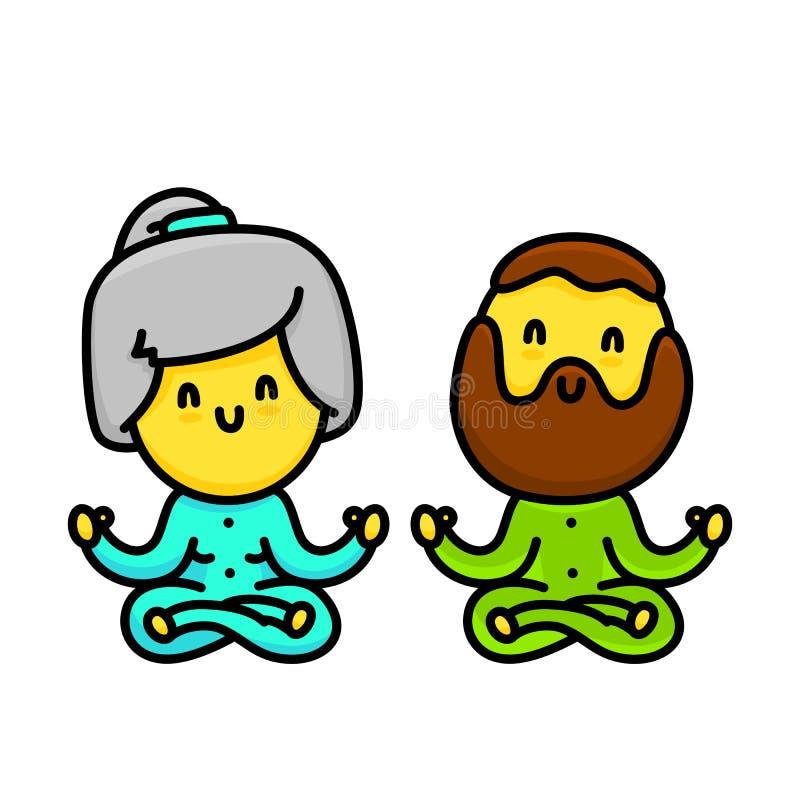 Пары стиля шаржа Kawaii старые делая йогу изолировали иллюстрацию вектора иллюстрация штока