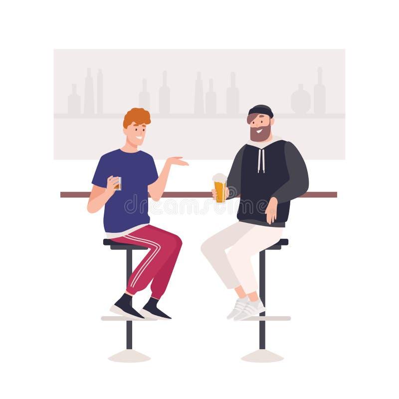 Пары счастливых друзей сидя на табуретках на счетчике бара и выпивая пиве или алкогольных напитках Милый смешной усмехаться 2 иллюстрация вектора