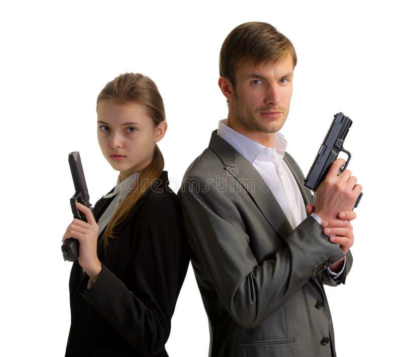 Телохранители укомплектовывают личным составом и женщина стоковые фото