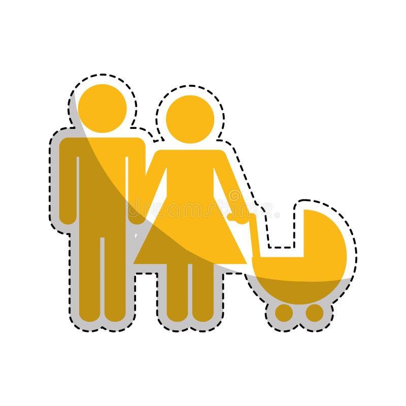 Download Пары с тележкой младенца иллюстрация вектора. иллюстрации насчитывающей романтично - 81801852