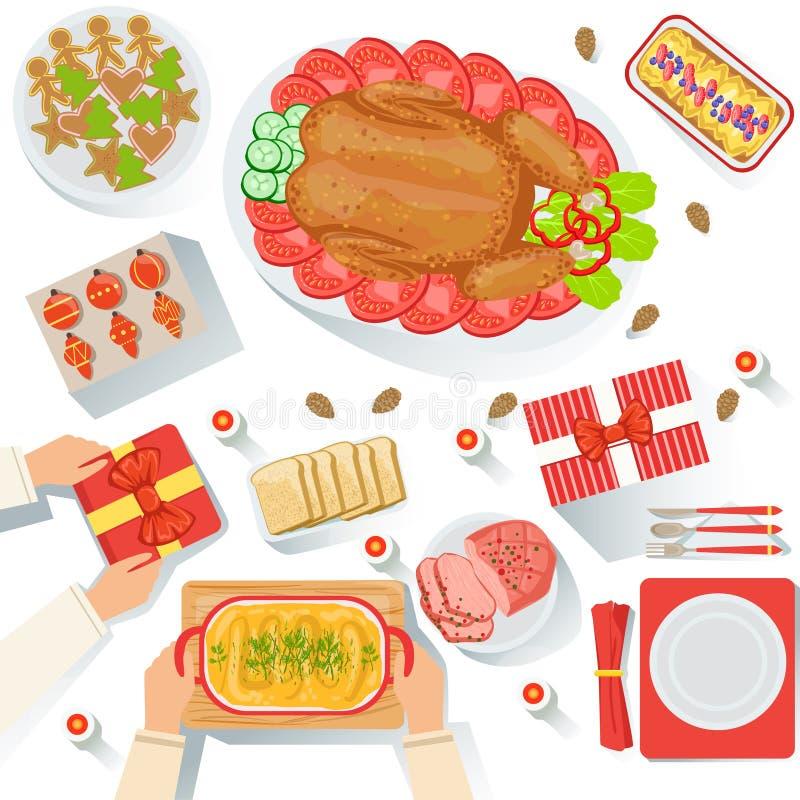 Пары с традиционно, который служат иллюстрацией шаржа взгляда еды торжества рождества сверху иллюстрация штока